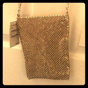 Shimmery crossbody metal purse